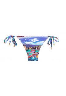 Slip di bikini sgambato blu con stampa, da annodare - CALCINHA MINI BARCA