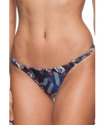 Blue printed adjustable thong bikini bottom - CALCINHA MINI RIVA