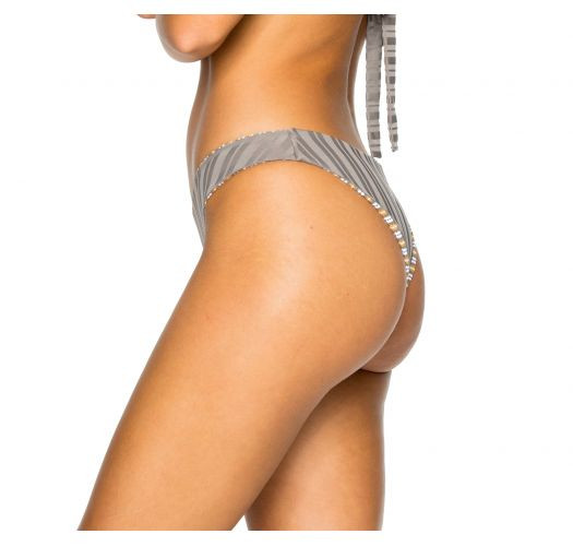 Reversible grey / stripped textured high-leg bikini bottom - BOTTOM BRAZILIAN TORRE DE ORO