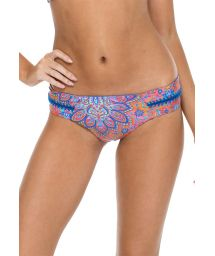 Reversible printed bikini bottoms with blue crochet - BOTTOM CANDELA BLUE