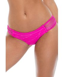 Pink lace effect bathing tanga with openwork sides - BOTTOM CARNAVAL FUCHSIA
