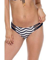 Bas de bikini texturé marine/blanc à lanières - BOTTOM ESPUMA MARINO