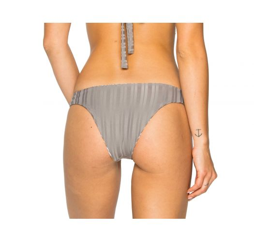 Reversible grey / stripped textured bikini bottom - BOTTOM HALTER TORRE DE ORO