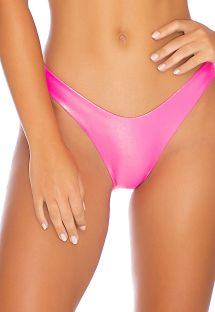 Metallic fluorescent pink high-leg bikini bottom - BOTTOM HEAVY METAL HIGH NEON PINK