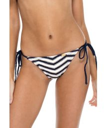 Sea-blue/white two-tone scrunch Brazilian bikini briefs - BOTTOM MALECON BRAIDED MARINO