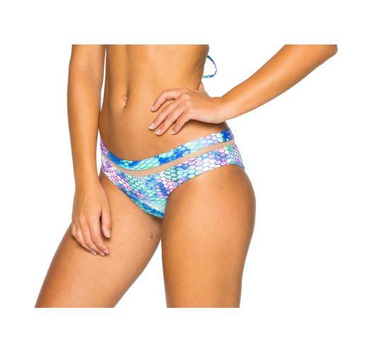 Bi-material reversible bikini bottom - mermaid print - BOTTOM MAMASITA SIRENAS