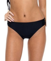 Black bikini briefs with lace-up sides and eyelets - BOTTOM MAMBO SONIA BLACK