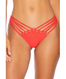 Korallenrote Strappy-Scrunch-Bikinihose, Ösen - BOTTOM MAMBO STRAPPY RED