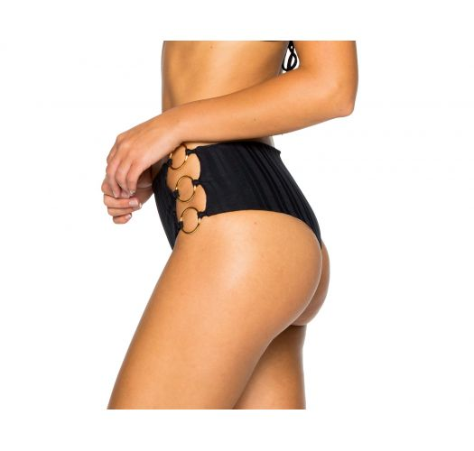 Black high-waisted bikini bottom with side rings - BOTTOM RING BLACK TIRI TURAI