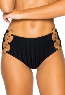 Black high-waisted bikini bottom with side rings - BOTTOM RING BLACK TIRI TURAI