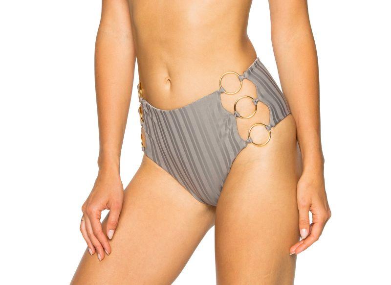 Grey high-waisted bikini bottom with ring details - BOTTOM RING GREY TURI TURAI