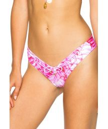 Reversible pink tie dye / leaves scrunch bikini bottom - BOTTOM RUCHED BAMBOLEO