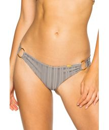 Grey scrunch bikini bottom with ring details - BOTTOM RUCHED GREY TURI TURAI