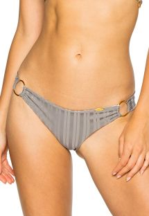 Scrunch-Tanga, mit Ringen, gestreift, grau, Ton in Ton - BOTTOM RUCHED GREY TURI TURAI