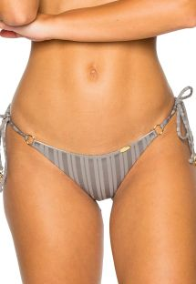 Side-tie grey scrunch Brazilian bikini bottom - BOTTOM SEAMLESS GREY TURI TURAI