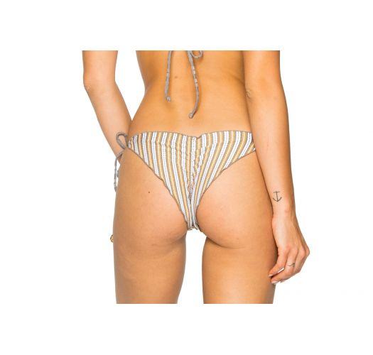 Reversible grey / stripped textured scrunch bikini bottom - BOTTOM SEAMLESS TORRE DE ORO