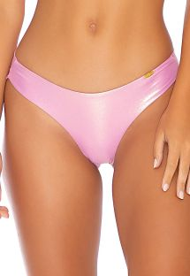 Pink metallic fixed scrunch bikini bottom lingerie effect - BOTTOM WAVY ROSE CHAMPAGNE