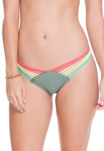 Khaki strappy scrunch bikini bottoms - CALCINHA AGATA