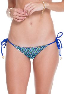 Blue dual fabric ruched bikini bottom - CALCINHA AGUA MARINHA