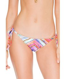 Striped colourful/shiny gold scrunch bottom with tie sides - CALCINHA BELLAMAR