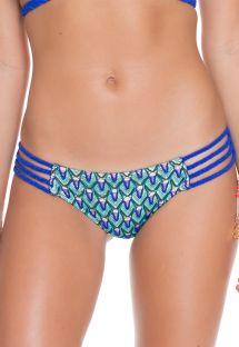 Blue crochet bikini bottom, braided side straps - CALCINHA BLUE KISS