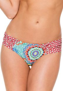 Fastsiddende scrunch bikinitrusse med brede sidestykker og mønstre - CALCINHA CARIBENA