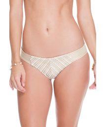 Iridescent white/gold tanga bikini bottom with mesh - CALCINHA CLEOPATRA