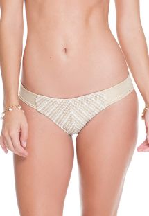 Iridescent white/gold tanga bikini bottom with mesh - CALCINHA CLEOPATRA