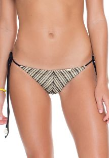 Black/gold mesh scrunch bikini bottoms - CALCINHA CRISTAL