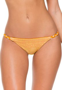 Reversible orange bi-material bikini bottoms - CALCINHA CROCHET ILLUSION