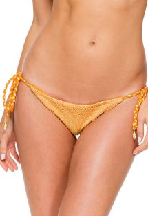 Orange tanga bikinitrusse med scrunch-effekt og to forskellige materialer - CALCINHA CUBAN SUNSET