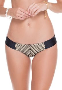 Black/gold fixed mesh swimming bottoms - CALCINHA DESERT