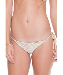 White/gold crochet scrunch thong bikini bottoms - CALCINHA DESERT HALTER