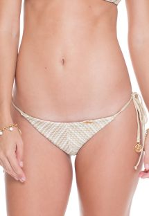 White/gold crochet scrunch thong bikini bottoms - CALCINHA DESERT HALTER