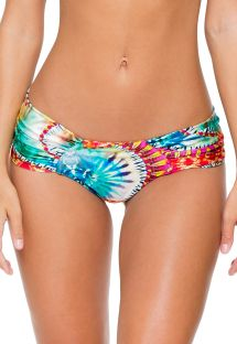 Tie-dye Brazilian scrunch bikini bottom with wide sides - CALCINHA ENCANTADORA SPORTY