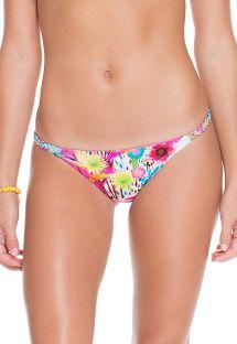 Tanga bikinitrusser med farvestrålende blomstermønster og flettede sidestykker - CALCINHA ESMERALDA