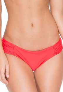 Red fluo bikini bottoms wide pleated sides - CALCINHA FAMA MULTIWAY FIRE
