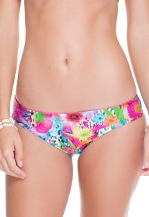 Reversible floral print/solid pink bikini bottom - CALCINHA FLOR DE PARAISO