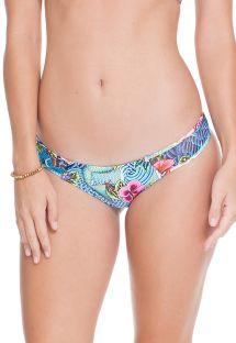 Nieruchomy dół bikini z obustronnym niebieskim wzorem - CALCINHA INDICO