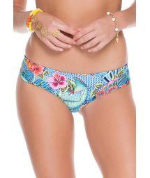 Reversible, blue-printed thong bikini bottom - CALCINHA INDICO FIO