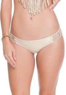 Satynowy, złoty, nieruchomy dół bikini z makramą - CALCINHA IRIS