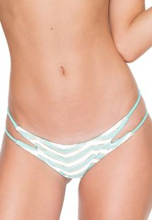 Lysegrønne bikinitrusser i tekstureret materiale med flettede sidestykker - CALCINHA MARITZA MALECON GREEN
