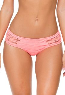 Open-work coral-colour dual fabric swimsuit bottom - CALCINHA PARADISE CROCHET CORAL