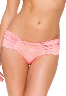Wide-sided coral-colour dual fabric scrunch bottom - CALCINHA PARADISE SPORTY CORAL