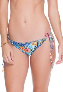 Scrunch floral print bikini bottoms with sequins - CALCINHA PURPURA