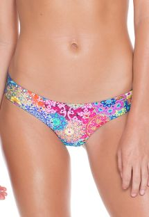 Fixed ruched tanga bikini bottom in a colourful mandala print - CALCINHA SAFIRA