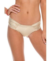 Gold scrunch swimsuit tanga with wide sides - CALCINHA SPORTY GOLD RUSH