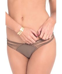 Taupe scrunch bottoms with multiple straps - CALCINHA STRAP SANDY TOES