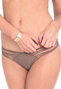 Graue Scrunch-Bikinihose mit Multischnüren - CALCINHA STRAP SANDY TOES