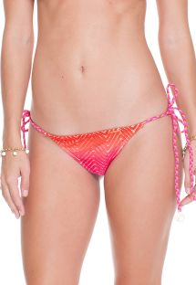 Tie Dye ruched tanga bikini bottom with braided side-ties - CALCINHA SUNSET ANGEL